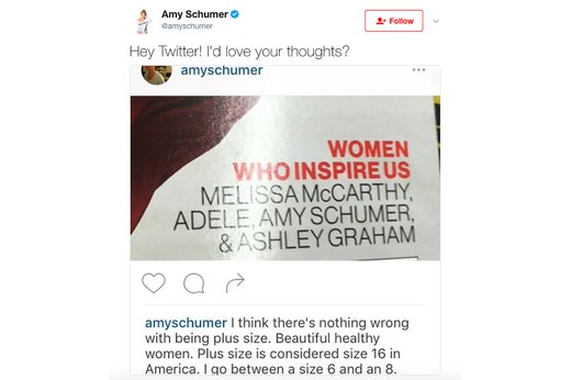 3. Glamour Calls Amy Schumer Plus-Size
