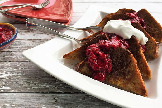 3. Cocoa-Dusted French Toast With Raspberry Smash and Whipped Cream