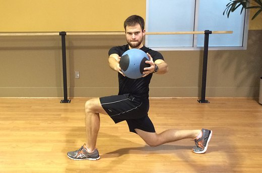 Lunge Variation #2: Rotate With a Medicine Ball