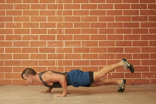 6. Staggered Hand & Single-Leg Push-Up