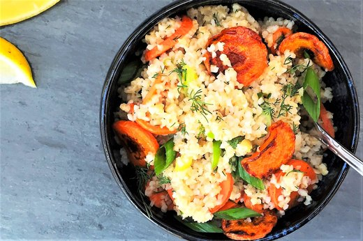 5. Warm Lemony Bulgur Salad With Roasted Carrot Coins and Dill