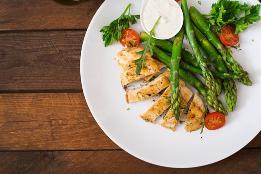 2. Sesame-Crusted Chicken Breast With Pasta and Asparagus